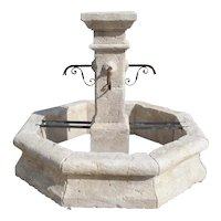Provencale Limestone Center Fountain with Octagonal Basin and Square Center Column