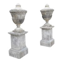 Pair Of Neoclassical Composition Limestone Urns On Pedestals, Southern Italy