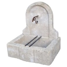 Small Arched Top Limestone Wall Fountain from Provence, France