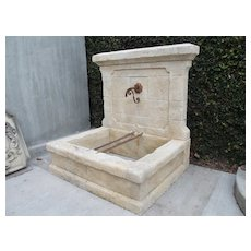 Carved Estaillade Stone Wall Fountain from Provence, France