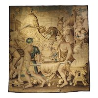 Circa 1710 Silk and Wool Aubusson Tapestry, the Entry of Alexander Into Babylon