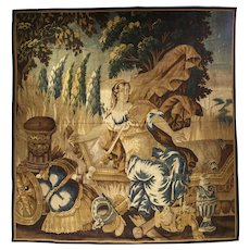 Antique Aubusson Tapestry from the Late 1600's, Goddess Pax or Eirene