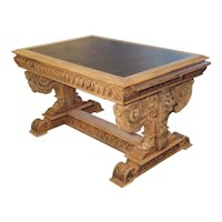 19th Century Carved Oak Renaissance Style Desk with Bluestone Top, France, Circa 1860