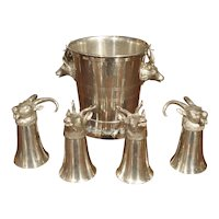 Set of 4 Polished Pewter Stag and Ibex Stirrup Cups with Ice Bucket