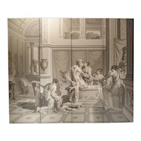 A Grisaille Wallpaper Quadriptych Depicting The Bath of Psyche