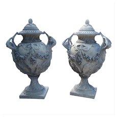 Stunning Pair of Cast Grey Stone Urns from the Margam Park Originals