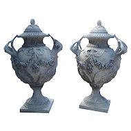 Stunning Pair of Cast Grey Stone Urns from the Margam Park Originals