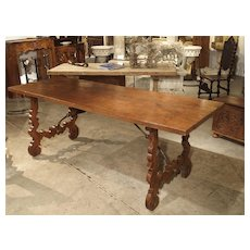 Single Plank Oak and Walnut Wood Refectory Table from Spain, 18th Century