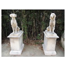 Pair of Cast Stone Hunting Dog Statues on Pedestals