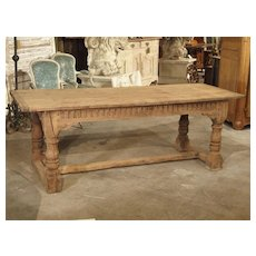 Stripped Antique Oak Jacobean Style Refectory Table from England, 19th Century