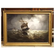 Antique Oil on Canvas Marine Painting from Normandy France, 1883 E. PETIT