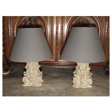 Pair of 18th Century Column Capital Lamps from France