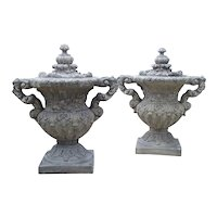 Pair of Cast Renaissance Style Lidded Outdoor Vases from France
