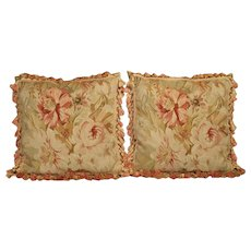 Pair of Aubusson Pillows with Silk Tassels