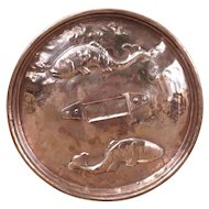 A Decorative Antique Hand Hammered Copper Fish Lid