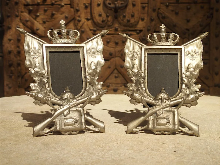 Pair Of Small Antique Cast Metal Picture Frames From Germany Circa 1900