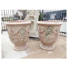 Pair of Antiqued Classic Fleur-de-Lys Anduze Pots from France