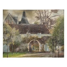 Signed Painting on Canvas of a Country French Manor House