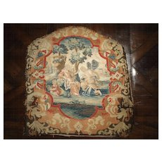 Rare 17th Century French Scenic Silk Tapestry with Needlepoint Border Chair Back Panel