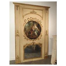 Large Painted Antique Louis XVI Style Trumeau Mirror, 19th Century