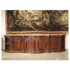 Massive Marble Topped Walnut Wood Louis XV Style Chateau Buffet
