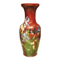 Grand Antique French Barbotine Vase, Parisian School Late 1800s