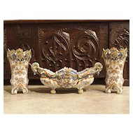Three Piece Set of Antique Faience-Rouen France