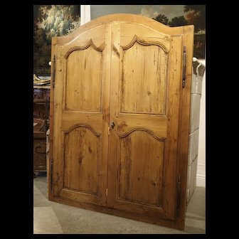 Pair of Antique French Pine Cabinet Doors, 19th Century