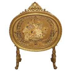 Antique Napoleon III Giltwood Firescreen from France