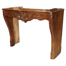 Antique French Walnut Wood Fireplace Mantel, Circa 1860