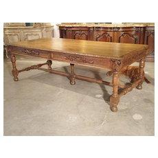 Circa 1800 French Oak Table with Wine Grape Motifs