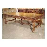 Early 1800s Carved French Oak Vineyard Table