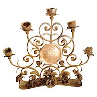 Antique French Forged Iron 'Roses' Candelabra