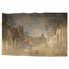 21 Foot Long Antique French Theater Backdrop, Circa 1910