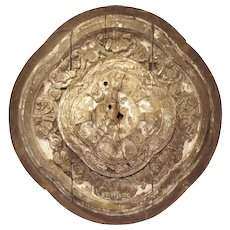 A Large 18th Century Parcel Paint Wooden Ceiling Medallion from Spain