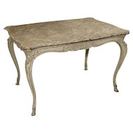 Painted Antique Louis XV Style Center Table with Faux Marble Top