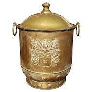 Vintage Brass Repousse Container from France, 20th Century