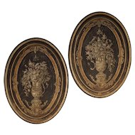 Pair of Large Painted Wooden Oval Panels from Florence Italy
