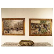 A Pair of Framed Antique Paintings by Giuseppe De Sanctis (1858-1924)