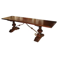 Italian Walnut Wood Dining Table with Iron Stretchers