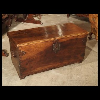 Circa 1650 Walnut Wood Trunk from Spain
