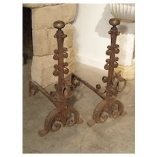 Pair of Tall Antique Forged Andirons from Antwerp Belgium, Circa 1870