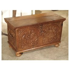 17th Century Carved Oak Trunk with Detailed Arcading and Foliate Motifs