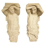 Pair of Large and Decorative Plaster and Fiberglass Atlases from France