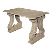 Antique Carved White Marble Console Table from France, 19th Century