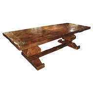 Large French Oak Dining Table with Parquet Top and Fleur De Lys Corners