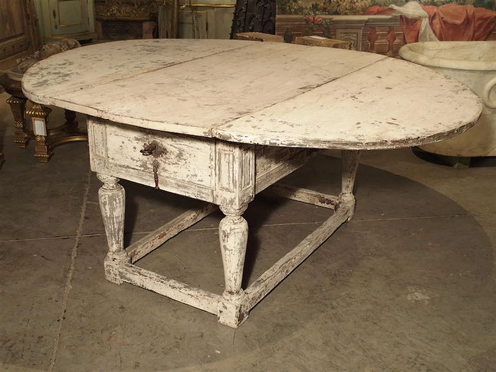 Painted Antique Drop Leaf Oak Table From Italy 17th Century