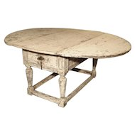 Painted Antique Drop Leaf Oak Table from Italy, 17th Century