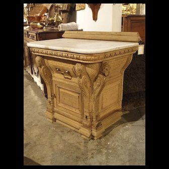 19th Century Oak and Marble Butcher Counter from Lyon, France