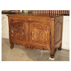 Antique Walnut Wood Buffet from Provence, France, 19th Century